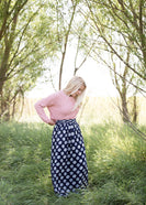 Inherit Co.  | Modest Plus Size Clothing | Medallion Print Maxi Skirt | navy printed high waist lightweight maxi skirt