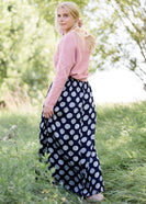 navy printed high waist lightweight maxi skirt