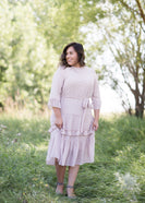 Inherit Co.  | Women's Modest Dresses | Swiss Dot Embroidered Ruffle Midi Dress | mauve swiss dot tiered lined womens midi dress