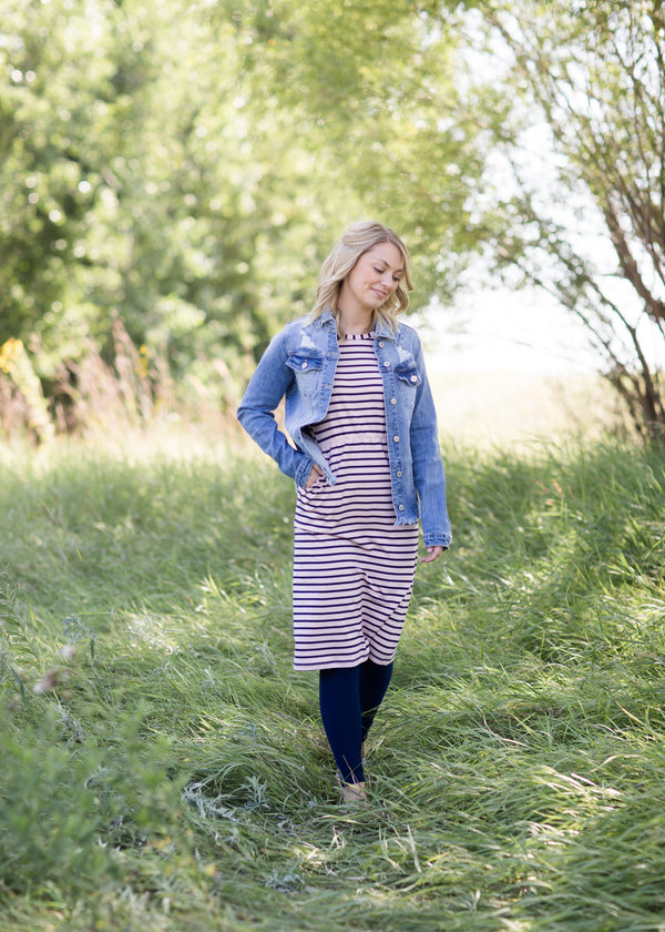 Inherit Co.  | Women's Modest Dresses | Kristen Striped Midi Dress