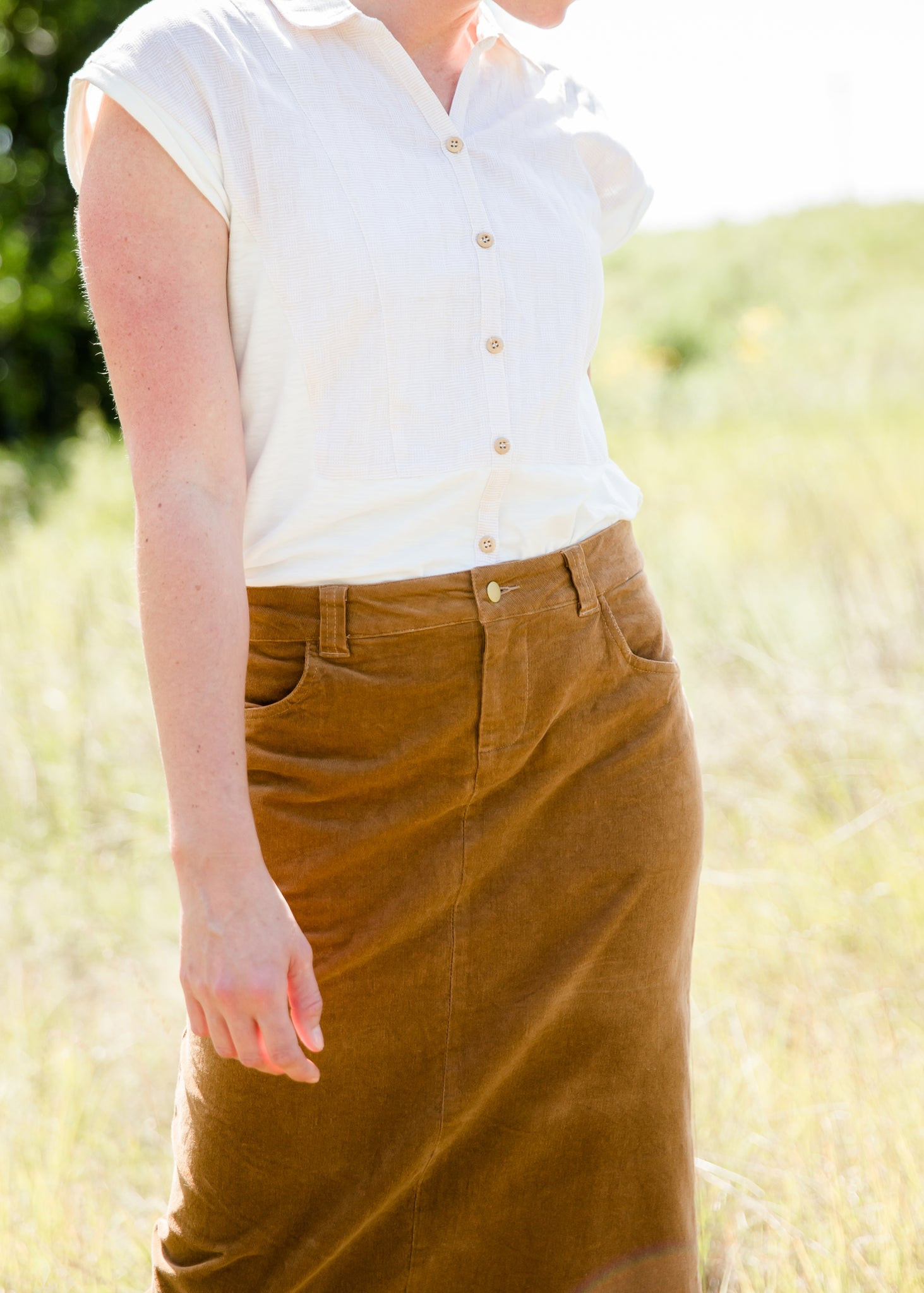 womens long corduroy maxi skirt in fall colors
