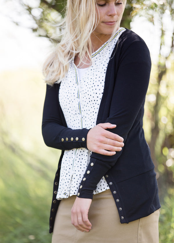 Inherit Co.  | Modest Women's Tops | Dot Button Up Peplum Top - FINAL SALE | women's polka dot peplum top