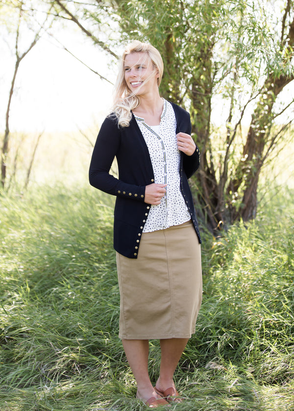 Inherit Co.  | Modest Women's Skirts | Remi Dark Khaki Midi Skirt | women's dark khaki midi jean skirt