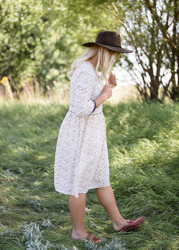 Inherit Co.  | Modest Clothing on Sale | Tiny Floral Detail Midi Dress | ivory floral womens midi dress