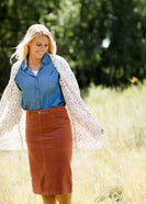 Inherit Co.  | Modest Plus Size Clothing | Chanel Pom Pom Cardigan | multi color popcorn knit open front ivory cardigan