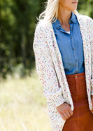 multi color popcorn knit open front ivory cardigan
