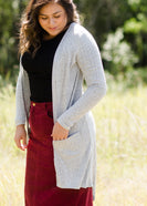 gray ribbed long open front cardigan