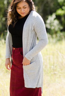Pocket Front Ribbed Cardigan - FINAL SALE