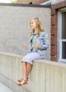 Inherit Co.  | Girls Modest Clothing | Frayed Denim Trucker Jacket - FINAL SALE
