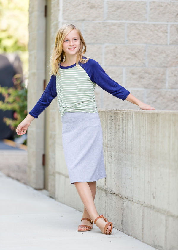 Inherit Co.  | Modest Women's Best Sellers | Minted Girls Baseball Top - FINAL SALE | mint and navy girls baseball stripe top