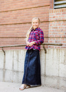 girls a-line long denim embroidered denim skirt