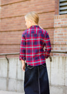 girls modest red and blue plaid flannel button up top