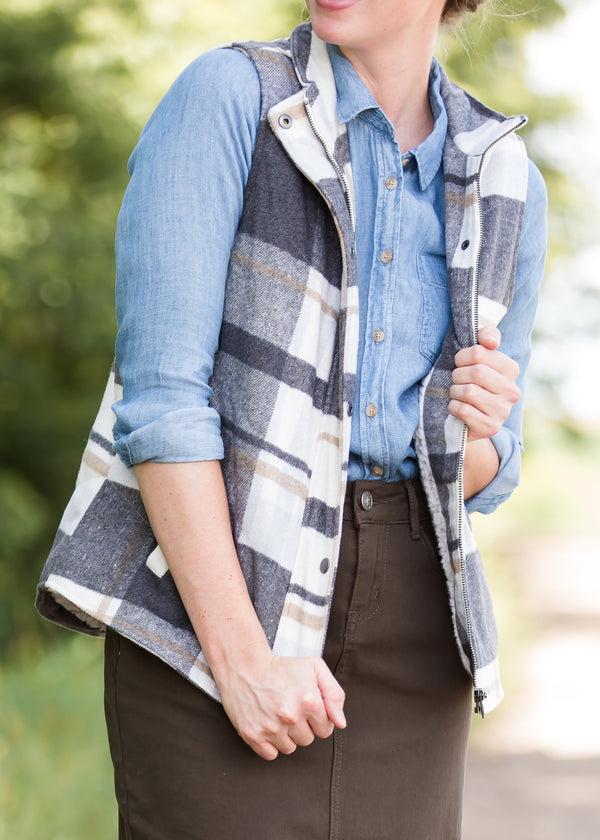 Inherit Co.  | Modest Women's Tops | Plaid Print Sherpa Lined Vest | Womens Gray and Blue Plaid Print Sherpa Lined Vest