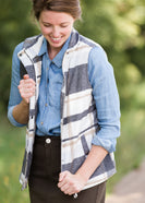 Womens Gray and Blue Plaid Print Sherpa Lined Vest