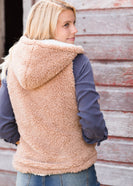cozy tan sherpa zip up hooded vest