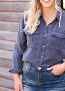 Gray Soft Button Up Roll Tab Top