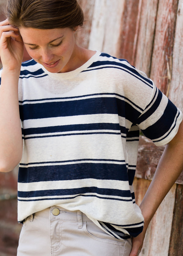 Inherit Co.  | Modest Women's Tops | Striped Light Knit Tee | Womens Navy or Brown Striped Light Knit Tee
