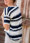 Womens Navy or Brown Striped Light Knit Tee