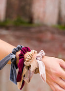 velvet bow hair scrunchies in blush, burgandy, gold and gray