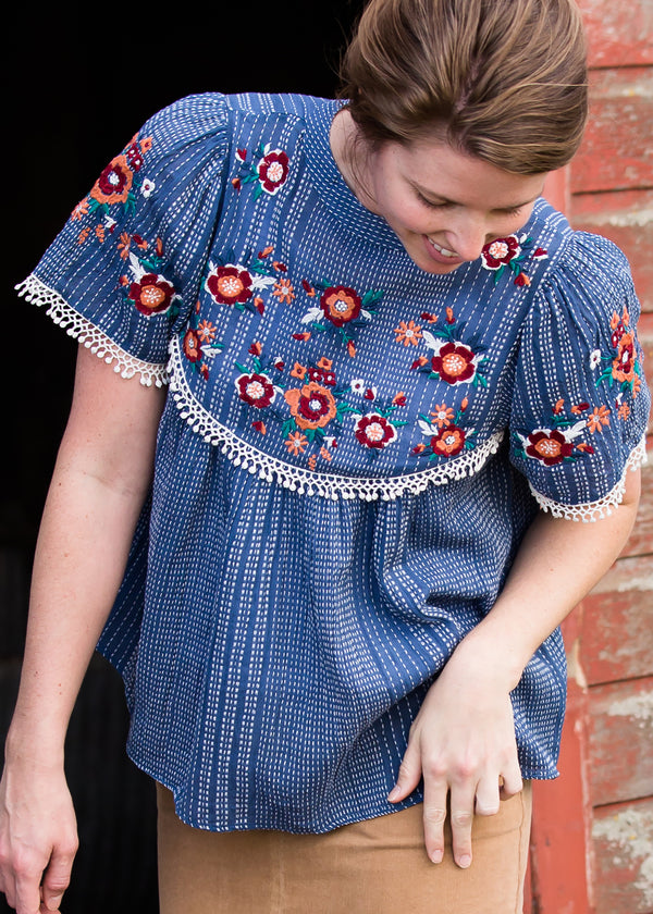 Inherit Co.  | Modest Women's Tops | Embroidered Floral Striped Top - FINAL SALE | Blue Embroidered Floral Striped Top