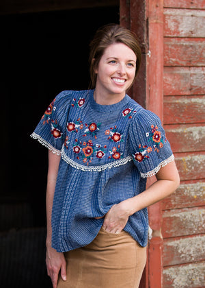 Blue Embroidered Floral Striped Top