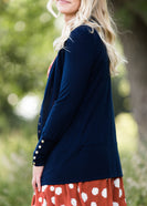 Classic knit brass button snap cardigan