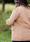 sherpa lined camel colored womens cargo jacket