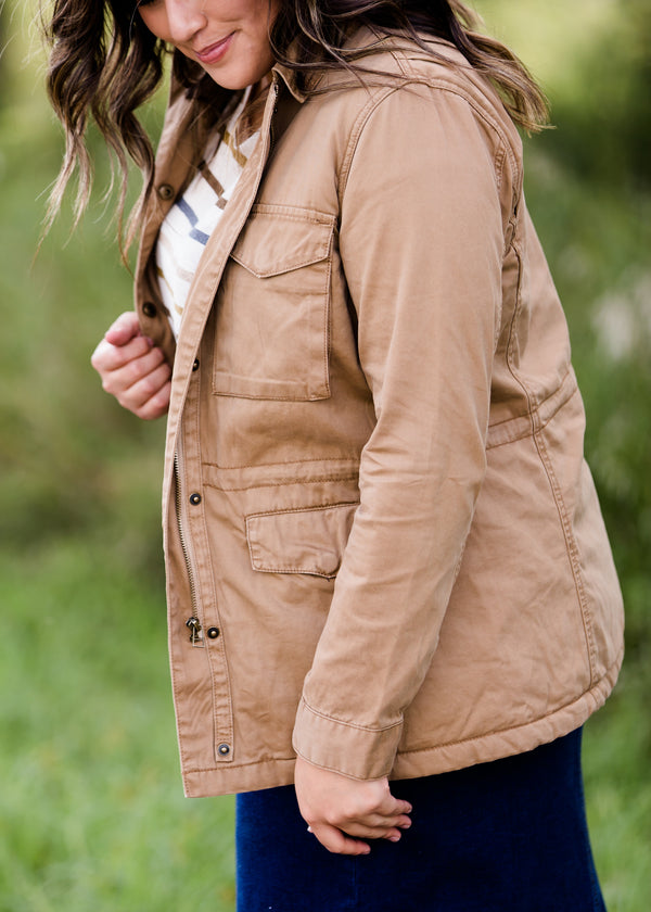 Inherit Co.  | Modest Clothing on Sale | Pocket Front Cargo Jacket | sherpa lined camel colored womens cargo jacket