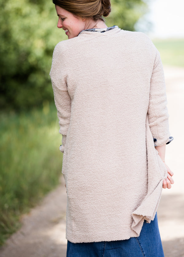 Inherit Co.  | Modest Clothing on Sale | Cozy Long Duster Cardigan | cozy sherpa long duster cardigan in taupe