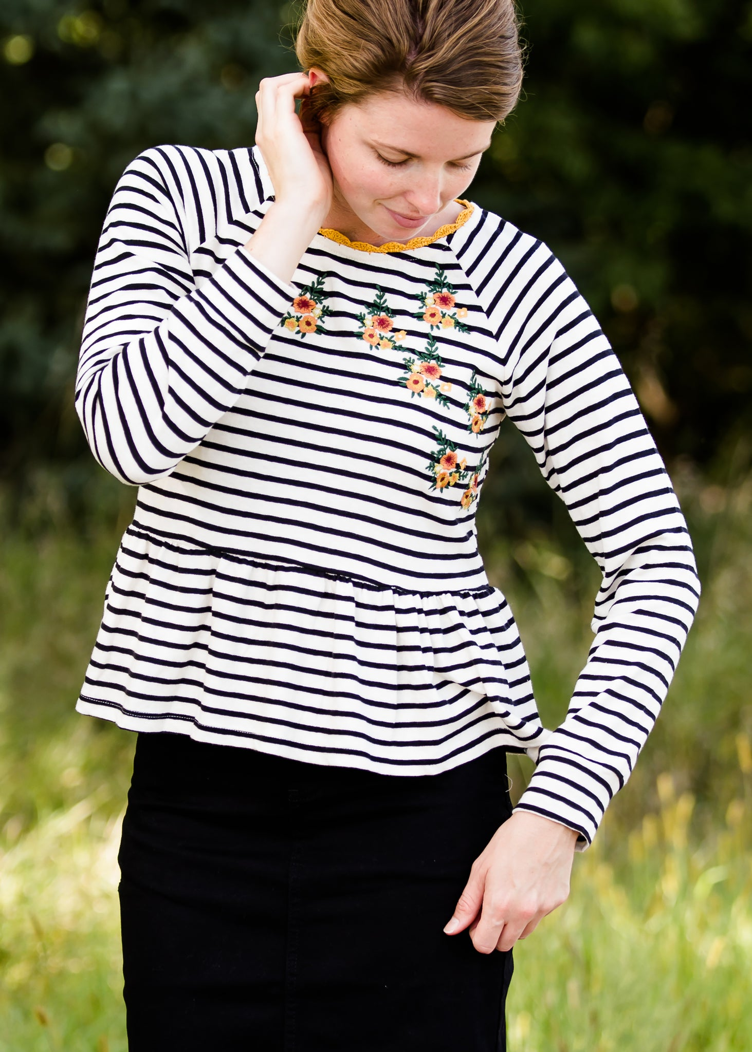 Striped Raglan Floral Embroidered Top