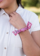 floral hair scrunchie with bow
