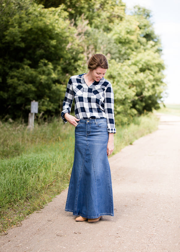 Inherit Co.  | Modest Women's Skirts | Jennifer A-Line Long Denim Skirt | A-line premium denim women's jean skirt with updated skirt