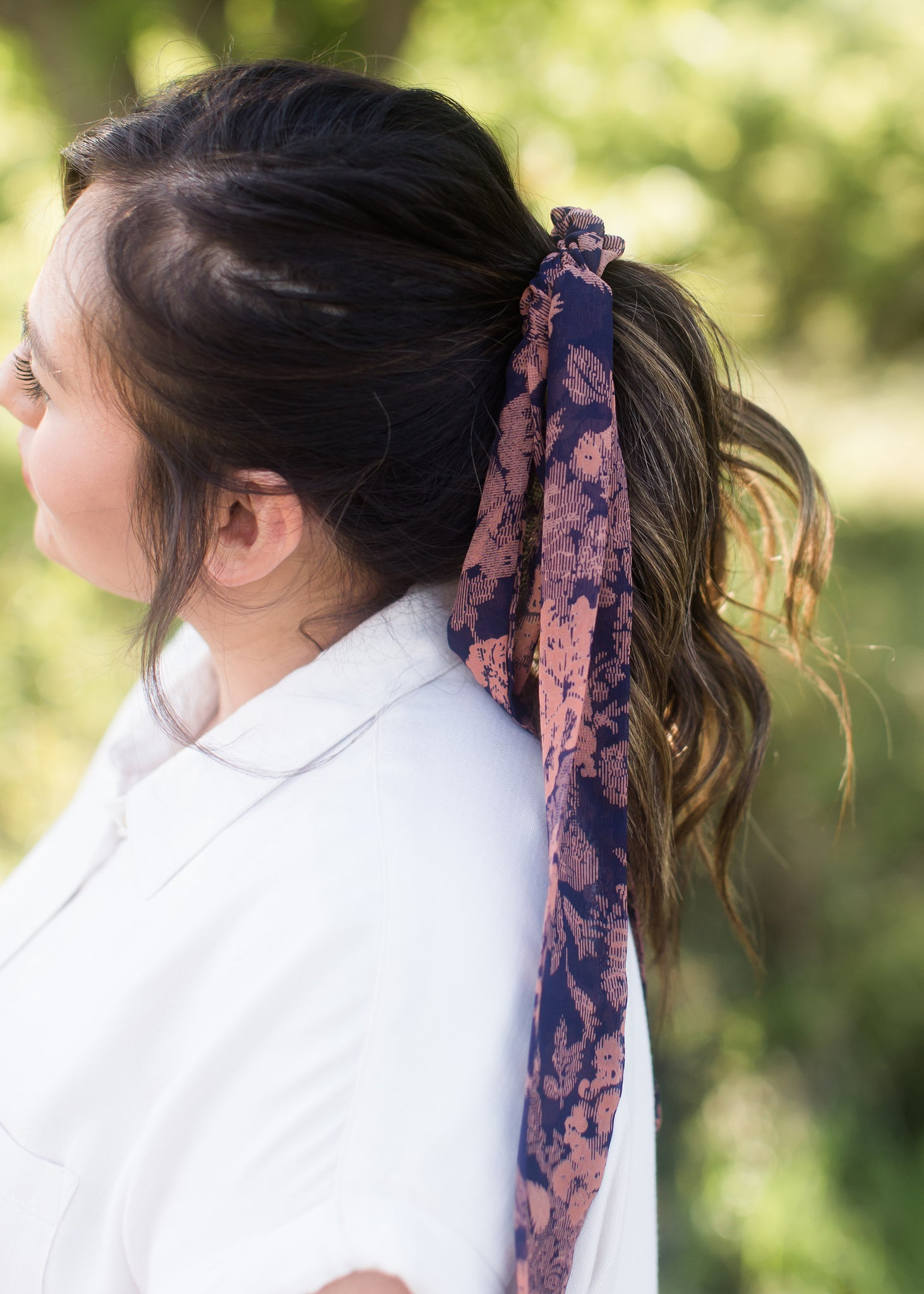 Navy floral hair scrunchie and bandana