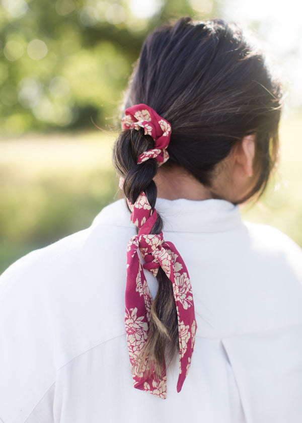 Inherit Co.  | Women's Shoes & Accessories | Floral Pony Scarf Hair Tie | Floral red pony hair scrunchie and scarf