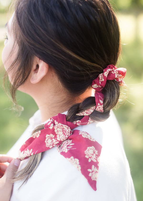 Inherit Co.  | Women's Accessories | Floral Pony Scarf Hair Tie | Floral red pony hair scrunchie and scarf