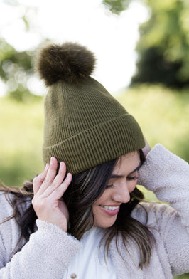 Cashmere Ribbed Knit Hat - FINAL SALE