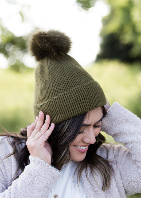 Inherit Co.  | Women's Accessories | Cashmere Ribbed Knit Hat - FINAL SALE | cashmere ribbed knit olive or blush hat