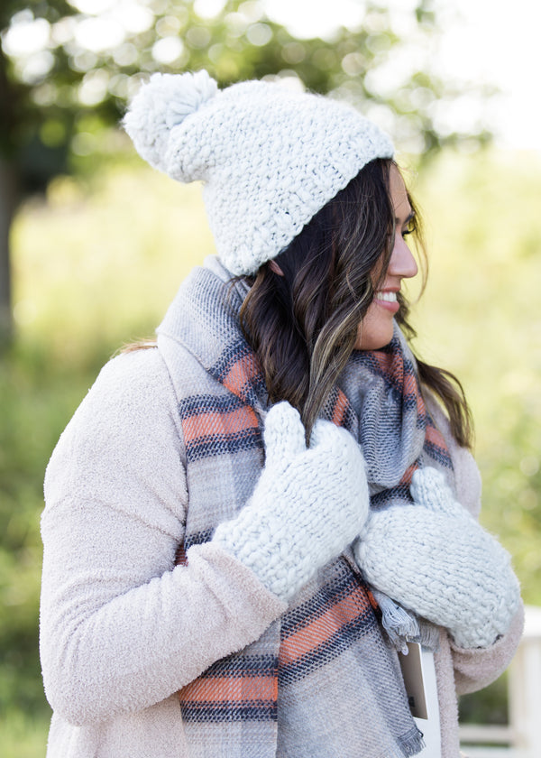 Inherit Co.  | Women's Accessories | Mango Yarn Pom Hat or Mittens | gray fleece lined mango yard hat and mittens