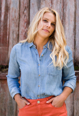 Chambray Button Up Pocket Top - FINAL SALE