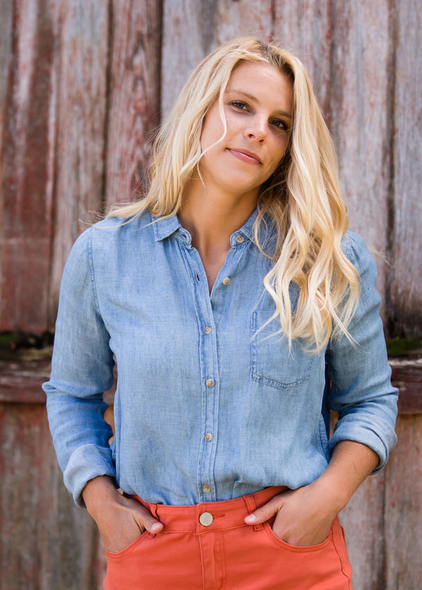 Inherit Co.  | Modest Women's Tops | Chambray Button Up Pocket Top | Womens Chambray Button Up Pocket Top
