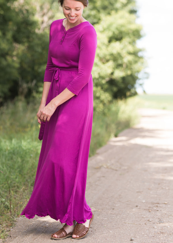 Inherit Co.  | Inherit Exclusives | Lydia Button Front Maxi Dress | Women's long pink maxi dress that is fully lined, nursing friendly and comes with a belt