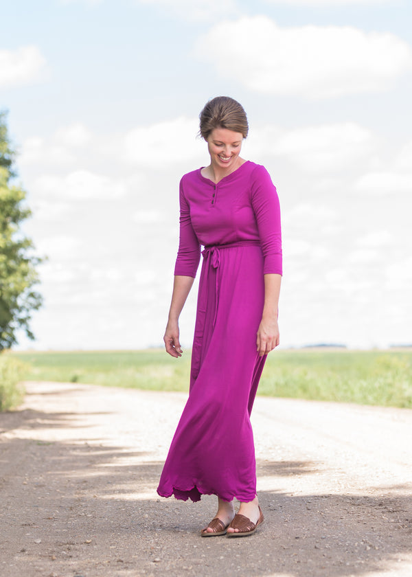 Inherit Co.  | Women's Modest Dresses | Lydia Button Front Maxi Dress | Women's long pink maxi dress that is fully lined, nursing friendly and comes with a belt