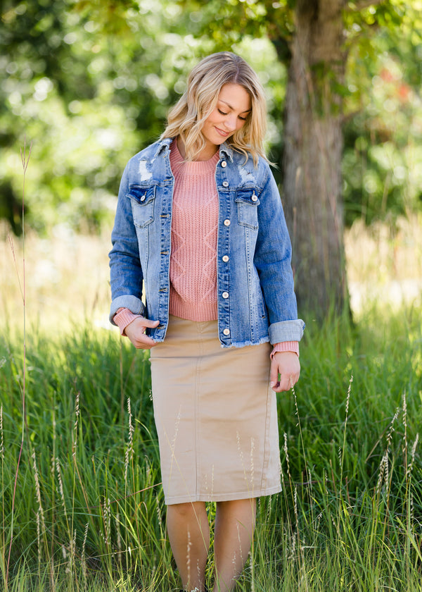 Inherit Co.  | Modest Women's Skirts | Remi Light Khaki Midi Skirt