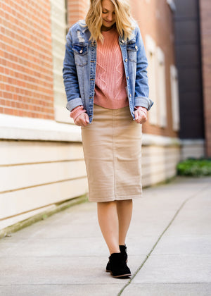 Remi Light Khaki Midi Skirt - FINAL SALE