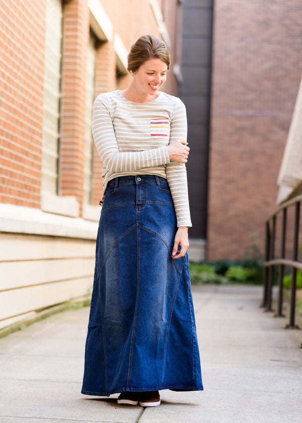 Inherit Co.  | Modest Women's Skirts | Long A-Line Denim Jean Skirt | made in the usa long a-line denim skirt