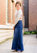 made in the usa long a-line denim skirt