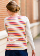 ladies long sleeve multi color striped contrast top