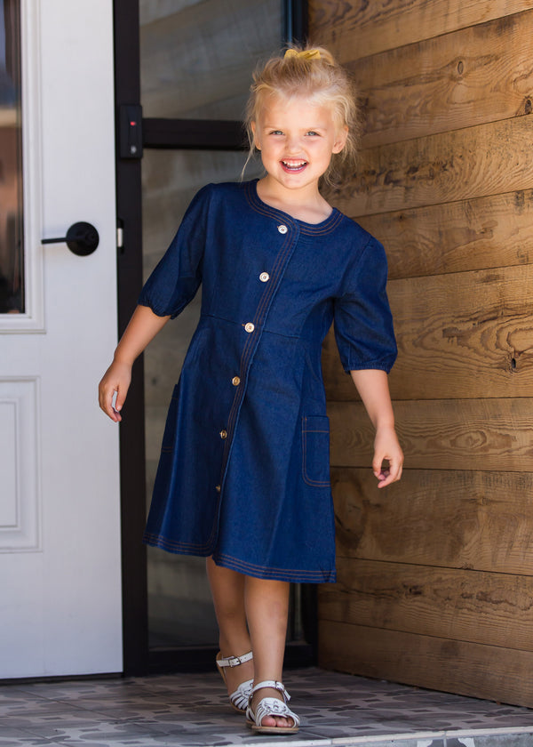 Inherit Co.  | Modest Clothing on Sale | Contrast Stitch Denim Midi Dress | Toddler Denim Midi Dress with buttons