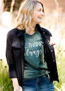 Inherit Co.  | Modest Plus Size Clothing | Give Thanks Graphic Tee | dark green women's give thanks fall graphic tee