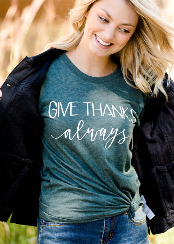 Inherit Co.  | Give Thanks Graphic Tee | dark green women's give thanks fall graphic tee